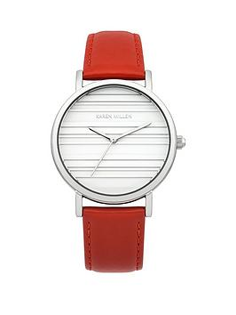 Karen Millen Karen Millen White Dial Red Leather Strap Ladies Watch
