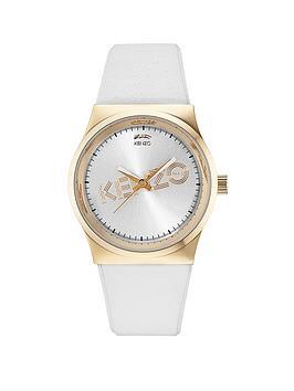 Kenzo Kenzo Dix-Huit White Dial White Leather Strap Ladies Watch