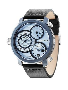 Police Police Mamba Silver Tone Dial Blue Mineral Glass Black Leather Strap Mens Watch