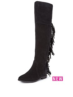 suki-suede-over-the-knee-flat-tassle-boot-black