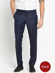 river-island-navy-check-slim-suit-trousers