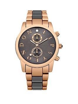Lipsy Multi Look Grey Dial Rose Gold and Grey Bracelet Ladies Watch