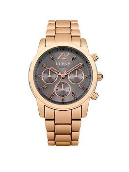 Lipsy Multi Look Grey Dial Rose Gold Tone Bracelet Ladies Watch