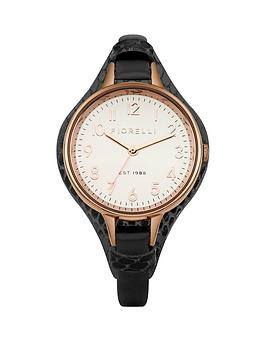 Fiorelli White Dial With Black Leather Strap Ladies Watch