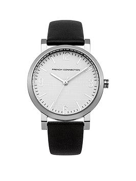 French Connection Catherine White Dial With Black Leather Strap Ladies Watch