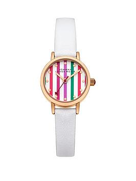 Johnny Loves Rosie Multi Coloured Stripe Dial White PU Strap Ladies Watch
