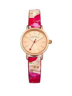 johnny-loves-rosie-pink-dial-floral-printed-pu-strap-ladies-watch