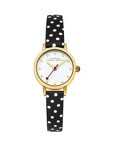johnny-loves-rosie-white-dial-black-spot-printed-pu-strap-ladies-watch