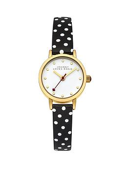 Johnny Loves Rosie White Dial Black Spot Printed PU Strap Ladies Watch