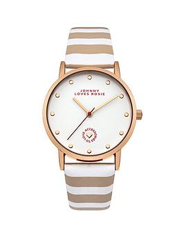 Johnny Loves Rosie Johnny Loves Rosie White Dial Nude and White Stripe Pu Strap Ladies Watch