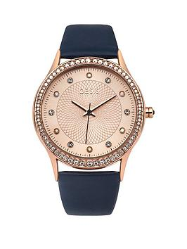 oasis-pink-dial-with-crystals-navy-pu-strap-ladies-watch