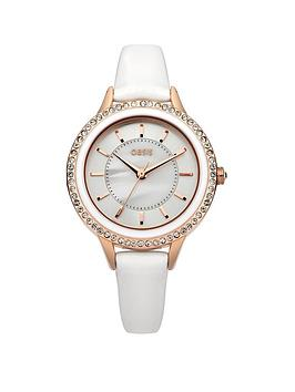 Oasis White Dial With White PU Strap Ladies Watch