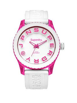 Superdry Tokyo Pink and White Silicone Strap Mens Watch