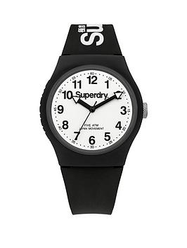 Superdry Urban White Dial With Black Silicone Strap Unisex Watch