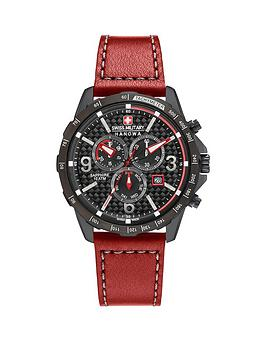 Swiss Military Chronograph Black Dial Ace Red Leather Strap Mens Watch
