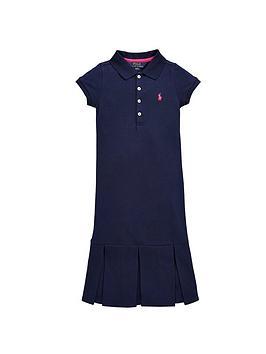 Ralph Lauren Girls Short Sleeve Pleat Polo Dress