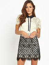 Two Tone Collared Lace Dress