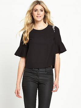 V by Very Fluted Sleeve Embellished Top