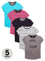 Girls Fashion Basics T-Shirts (5 Pack)