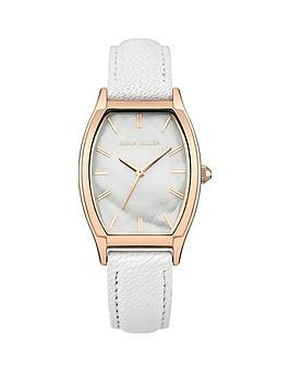 Karen Millen Karen Millen White Mother of Pearl Dial White Leather Strap Ladies Watch