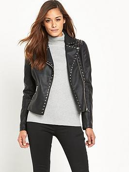 V by Very Leather Look Studded Biker Jacket