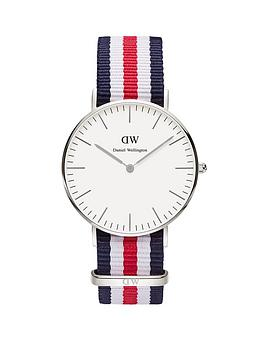 Daniel Wellington Daniel Wellington White Dial Silver Case With Navy/White/Red Nato Strap Ladies Watch