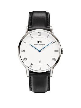 Daniel Wellington Daniel Wellington Dapper White Dial Silver Case Black Leather Strap Mens Watch