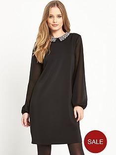 wallis-woven-embellished-collar-dress