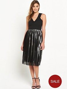 warehouse-foiled-pleated-dress