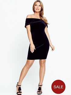 samantha-faiers-bardotnbspvelvet-bodycon-mini-dress