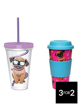 pug-travel-mug-amp-straw-cup-twin-set