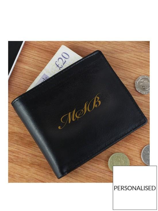 1654e0f521287 Personalised Monogram Black Leather Wallet