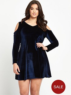 so-fabulous-plus-size-velvet-cold-shoulder-swing-dress-14-28