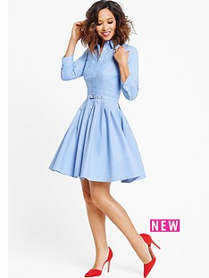myleene-klass-chambray-pleated-dress