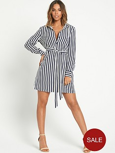 rochelle-humes-striped-shirt-dress
