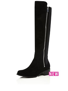 river-island-flat-stretch-back-boot-with-zip