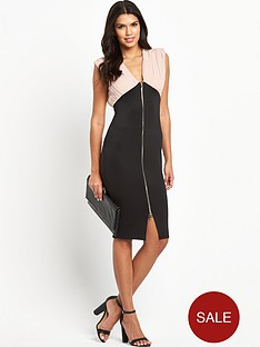 ax-paris-2-in-1-zip-front-midi-dress