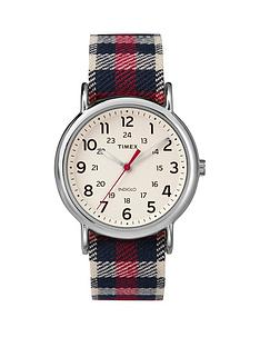 timex-weekender-white-dial-with-red-plaid-strap-ladies-watch
