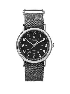 timex-weekender-black-dial-with-black-and-white-tweed-strap-unisex-watch