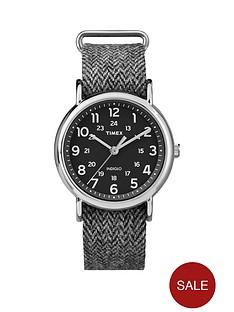 timex-weekender-black-dial-with-black-and-white-tweed-strap-unisex-watch