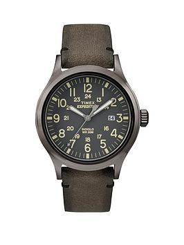 Timex Expedition Grey Dial With Brown Leather Strap Mens Watch