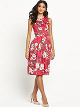 Floral Bouquet Print Prom Dress