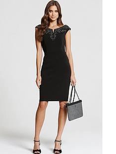 little-mistress-bardotnbspembellished-dress