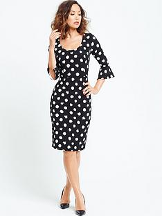 myleene-klass-spotted-bell-sleeve-shift-dress