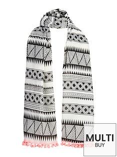 girls-aztec-pom-pom-trim-scarf