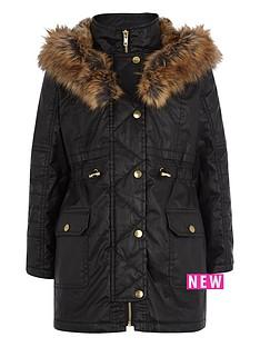 river-island-girls-black-waxed-parka-coat-with-faux-fur-trim