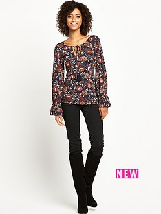 v-by-very-lace-up-fluted-sleeve-top