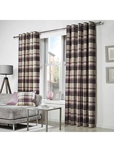 westary-check-rustic-woven-eyelet-curtains
