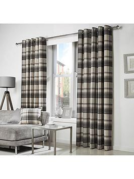 Westary Check Rustic Woven Eyelet Curtains | very.co.uk