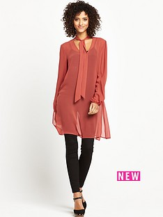 v-by-very-tie-neck-tunic-top-rust